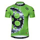 Weimostar Mountain Road Fahrradtrikot Kurzarm Fahrradbekleidung Fahrrad top Herren MTB Jersey Atmungsaktiv Sommer Zahnrad grün Größe XL