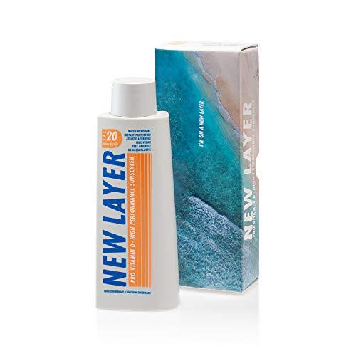 NEW LAYER Sonnencreme | LSF 20 | Pro Vitamin D | Wasserfest | Reef-friendly (200ml)