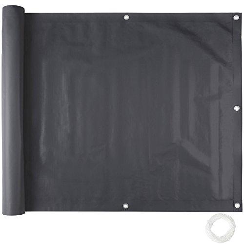 TecTake Balkonbespannung Sichtschutz Windschutz Sichtblende | Witterungsbeständig - verschiedene Farben und Größen (Schwarz 0,9 x 6 m | No. 402706)