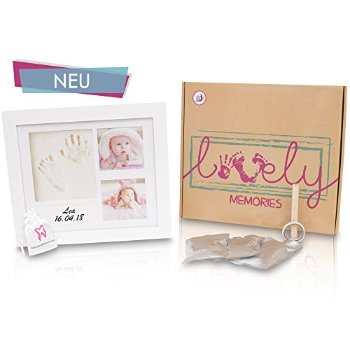 Windelschnecke Baby Bilderrahmen Abdruckrahmen Set für Handabdruck & Fußabdruck Geschenkbox, Taufgeschenk zur Geburt, Babyparty. Fotoalbum Fotocollage für Babys und Neugeborenen zur Erinnerung