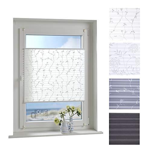 ourdeco Plissee / 75 x 210 cm Weiß, bedrucktes Blumenmotiv Ranke/lichtdurchlässig, Blickdicht/Farbe: Weiß Ranke/Klemmen=Montage ohne Bohren=Smartfix=Klemmfix-Plissee=Easy-to-fix