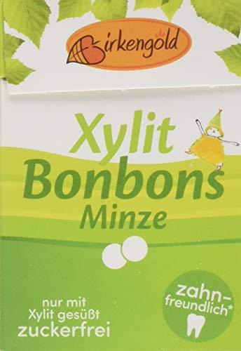 Birkengold Xylit Bonbons Minze zuckerfrei, 12er Pack | zahnpflegend | zuckerfrei | mit 100 % europäischem Xylit | natürliche Zutaten