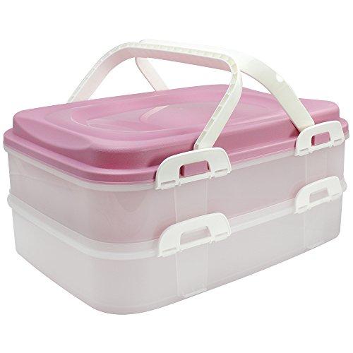 COM-FOUR Partycontainer Transport-Box, Kuchenbehälter und Lebensmittelbox mit 2 Etagen und Hebeeinsatz, in rosa pastell