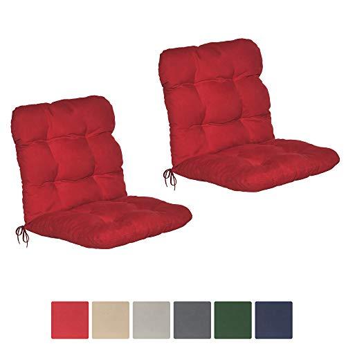 Beautissu 2er Set Niedriglehner Auflagen Set Flair NL 100x50x8cm Sitzkissen Niederlehner Gartenstuhl Stuhlkissen besonders bequem in Rot