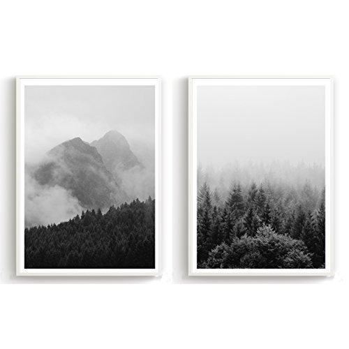 Made by Nami 2er Set Design-Poster 27x42cm Motiv Skandinavisch schwarz weiß Kunstdruck Premiumpapier Deko Wohnung Geschenk -ohne Rahmen- Wald