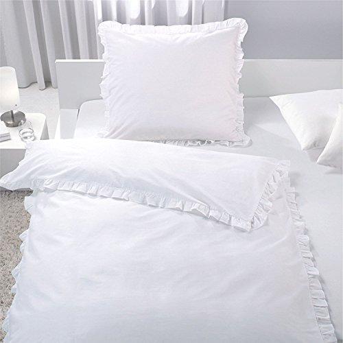7dreams Romantische Bettwäsche mit Rüschen Weiß 100% Baumwolle 135x200cm/80x80cm - Besonders Weich - mit Reißverschluss - mit Öko-Tex Siegel Standard 100:'Geprüftes Vertrauen