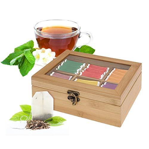 Oramics Teebox mit 6 Fächern im edlen Bambus Design - 21 x 7 x 16 cm (BxHxT) - Teekiste mit schönem Retro Verschluss Teekasten Tee Aufbewahrung für den intensiven Teegenuss