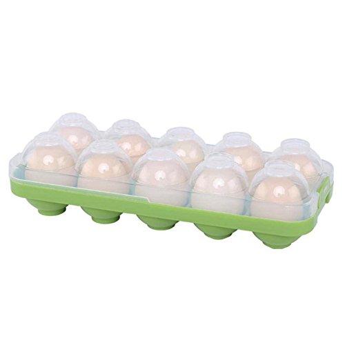 DUBENS Eierhalter Kühlschrank, Eierbehälter mit Deckel für 10 Eier Dose Box, Rutschfest Praktische Eierbox aus Kunststoff, Eierdose Aufbewahrungsbox Transportbox Eieraufbewahrung (Grün)