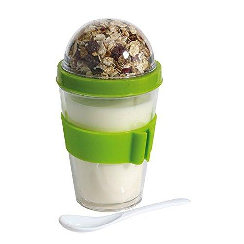 Müslibecher Müslibecher Joghurtbehälter Müslidose 2 go aufschraubbarer Deckel inkl Löffel Grün mit Halterung