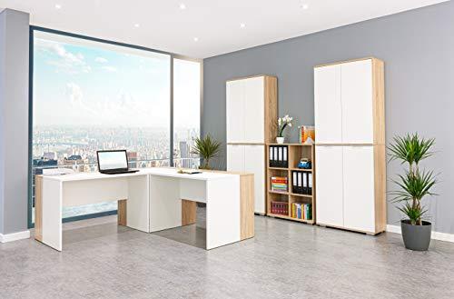 Möbel Pracht Arbeitszimmer, Büromöbel mit Schreibtisch, Aktenschrank und Regal aus der Serie mutatio (Büroset 13 TLG, Sonoma-Eiche/Weiß)