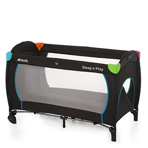 Hauck Sleep N Play Go Plus Kombi-Reisebett, 4-teiliges, ab Geburt bis 15 kg, inkl. Schlupf, Rollen, Matratze, Tragetasche, (höhenverstellbar, mobil & faltbar), multicolor black (schwarz)