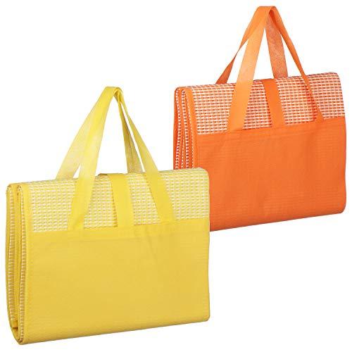 com-four 2X Picknickdecke 90 x 175 cm - Ultraleichte Stranddecke, faltbar mit Tragegriff ideal als Campingdecke oder Strandmatte (02 Stück - Gelb/Orange)