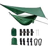 XISHUAI Camping Hängematte Outdoor mit Moskitonetz und Wasserdicht Plane Ultra-Licht Atmungsaktiv, Schnell Trocknende Fallschirm Nylon Camping Hängematte Field Survival Set (Leichtgewicht)