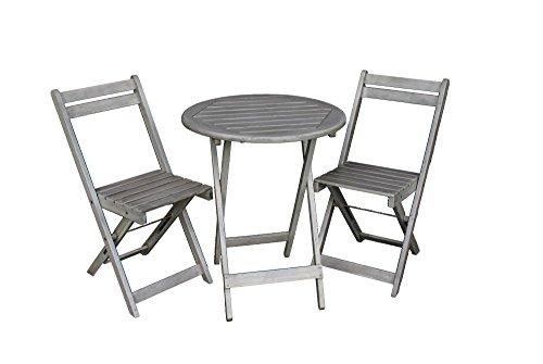 Balkon Möbel Set | Bistrotisch mit 2 Stühlen | Balkonmöbel | Tisch und Stühle Klappbar | Grau Matt | 100% FSC Akazie | Witterungsbeständiges Hartholz | Tisch 72cm Hoch