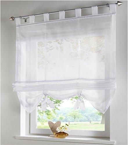 SIMPVALE Raffrollo mit Schlaufen Gardinen Voile römischen Liter Fall Schatten Transparent Vorhang für Balkon und Küche, Weiß, 140cm (Breite) x155cm (Höhe)