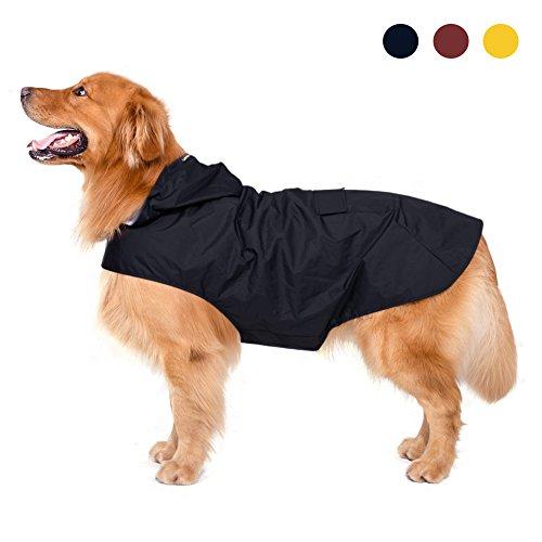 Hunderegenmantel mit Kapuze & Kragenloch & sicheren reflektierenden Streifen, ultraleichte atmungsaktive 100% wasserdichte Regenjacke von Zellar für mittelgroße Hunde