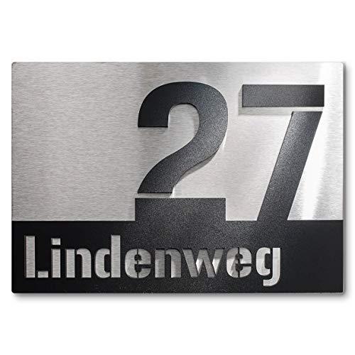 Metzler-Trade Hausnummer aus Edelstahl - Schild mit Nummer und Straßenname - inkl. Beschriftung – Befestigungsmaterial optional wählbar – Unterputz-Montage - witterungsbeständig und langlebig – Produktmaße: 175 x 250 mm