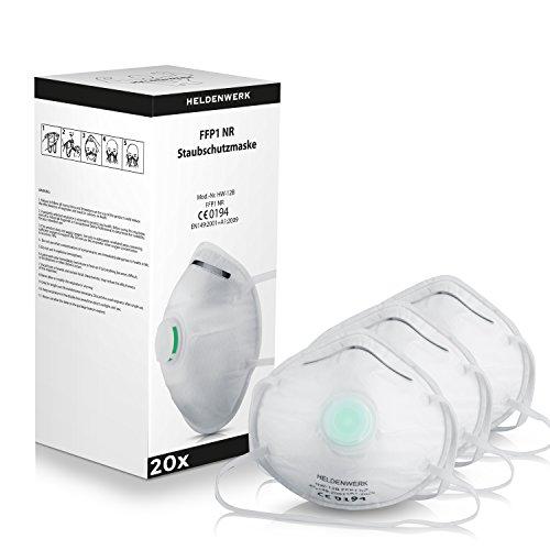 Heldenwerk Atemschutzmasken im 5er, 10er oder 20er Set - Premium Staubschutzmasken - Perfekt anpassbarer FFP1 Mundschutz