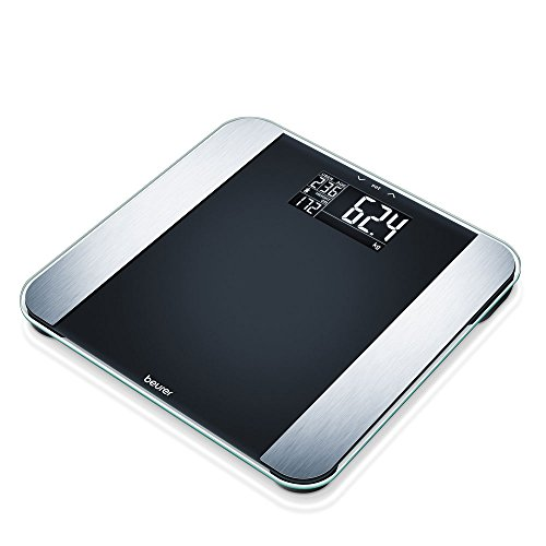 Beurer BF LE Limited Edition Glas-Diagnosewaage, Körperfettwaage mit Kalorienanzeige AMR und modernem Schwarz-Display