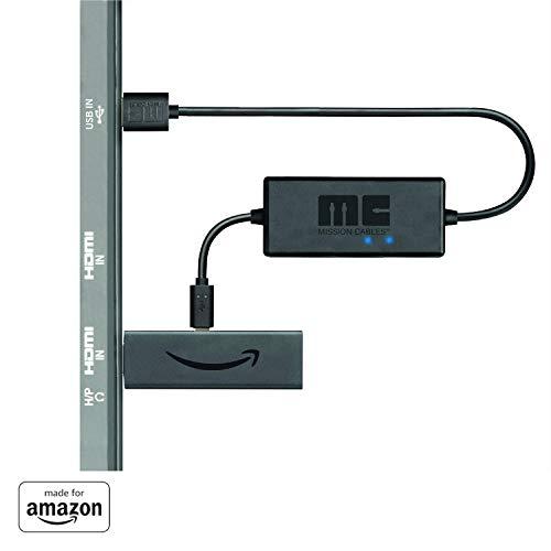 Mission USB Stromkabel - Ladekabel - Power Kabel für Amazon Fire TV Stick 4K mit erweiterten Batterie-Management und integriertem 2000mAh Lithium-Ionen-Akku - Schwarz - MC45