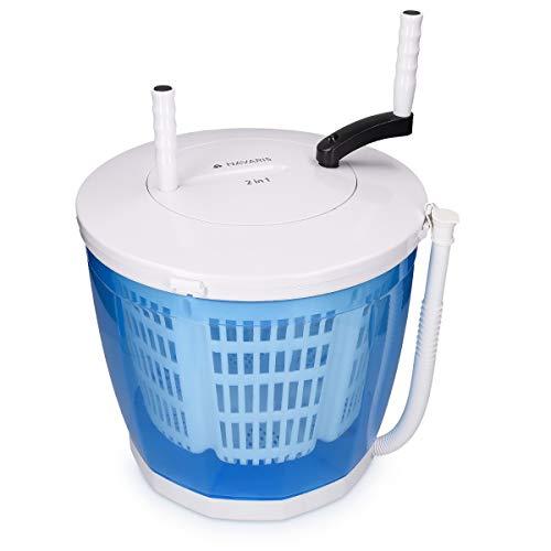 Navaris 2in1 Mini Waschmaschine und Wäscheschleuder - Camping Waschautomat bis 2kg - Tragbare Toplader Reisewaschmaschine mit Schleuderfunktion