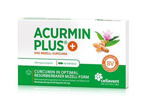 Kurkuma Kapseln hochdosiert von Acurmin PLUS: Das Mizell-Curcuma (Curcumin) mit Vitamin D3, OHNE Piperin/Bioperin/Pfeffer von Cellavent Healthcare GmbH - 60 Kapseln