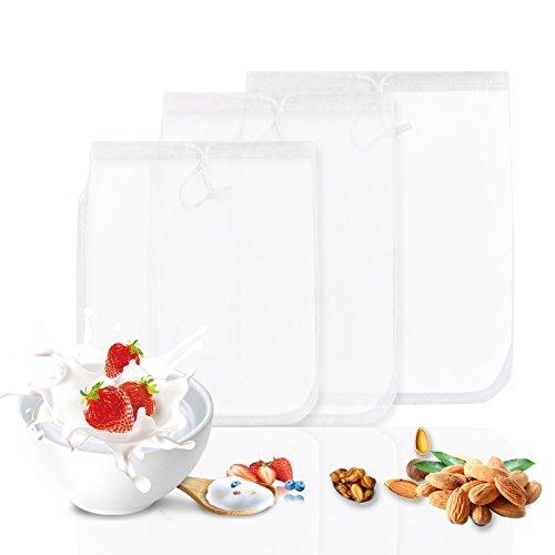 GWHOLE 3 x Nussmilchbeutel Passiertuch Filtertuch für Nussmilch Obstsaft Gemüsesaft