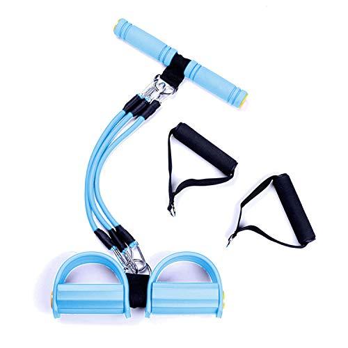 JEEZAO Multifunktions Expander Widerstandstraining 3 Tube Beintrainer Zugseil Bänder Yoga Fitness Fußpedal Zugseile Sit-up Bodybuilding Widerstand Übungsbänder für Zuhause Fitnessstudio (Blau)