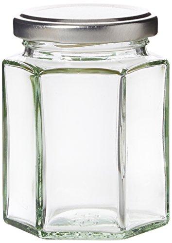 Nutley's Einmachgläser, Marmeladengläser mit silbernem Deckel, 190 ml, sechseckig, mit H1-Etiketten im Retro-Stil (24er-Pack)