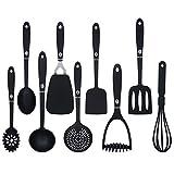 9-teiliger Küchenhelfer Set Küchenutensilien Schwarz Kochbesteck Set Küchenhelfer für Beschichtete Pfannen und Töpfe, Spülmaschinenfest