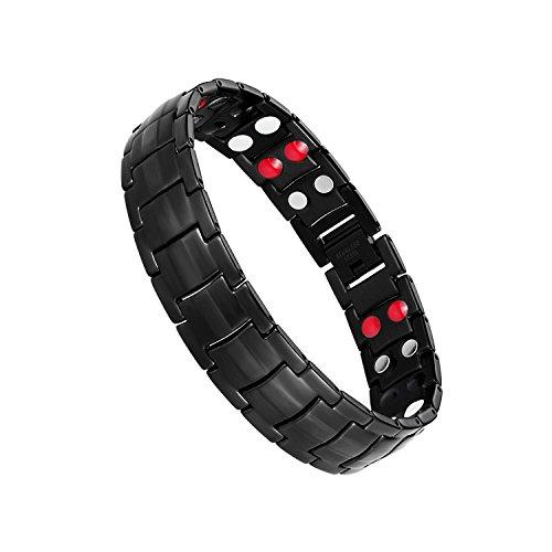 Jeracol Titanium Stahl Magnetische Armband für Herren Doppel Starke Gesundheit Magnetarmband Schmerzlinderung für Arthritis und Karpaltunnel, Schwarz