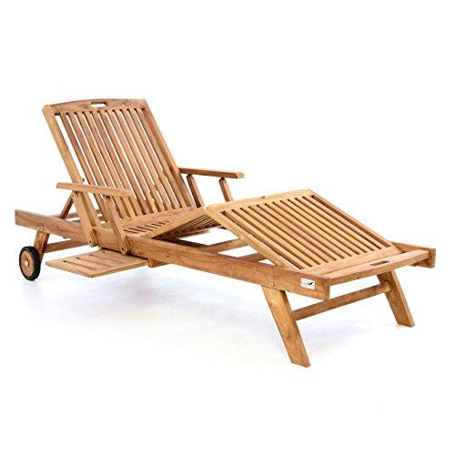 DIVERO GL05660  Mehrfach verstellbare Sonnenliege Gartenliege Relaxliege Liege Holzliege Teak Holz mit Armlehnen Tablett für Garten Terrasse Balkon Sauna witterungsbeständig behandelt massiv natur