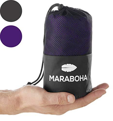 Maraboha Hüttenschlafsack aus weicher Mikrofaser, leicht und kleines Packmaß, Schlafsack Inlett mit extra Kissenfach - Perfekt für Backpacker und in warmen Ländern (Violett)