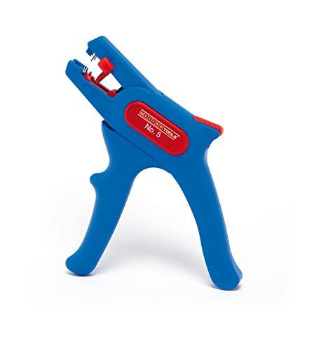 WEICON automatische Abisolierzange No.5 | Abisolierer selbsteinstellend 0,2 - 6 mm (24 - 10 AWG) | Abisolierwerkzeug mit Seitenschneider bis 2 mm |  Abisolieren von Rundkabeln | TÜV | blau / rot | 100% Made in Germany