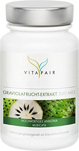 Graviola 500mg | Hochwertiges Graviola-Fruchtextrakt | 90 Kapseln | Vegan | Ohne Magnesiumstearat | Made in Germany