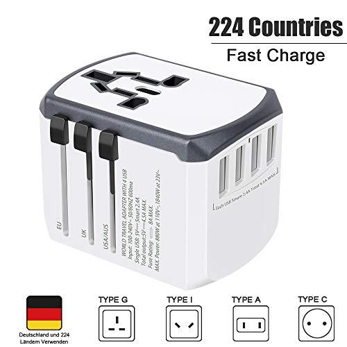 Reiseadapter Reisestecker Weltweit 224+ Ländern Universal Travel Adapter mit USB Internationale Reiseadapter Stromadapter für Europa Deutschland UK Australien USA China Asien Thailand Usw