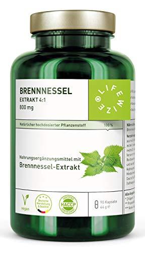 LifeWize Brennnessel Kapseln - Echter Brennnessel Extrakt 4:1-800 mg hochdosiert - aus Deutschland - Vegan und ohne Zusatzstoffe