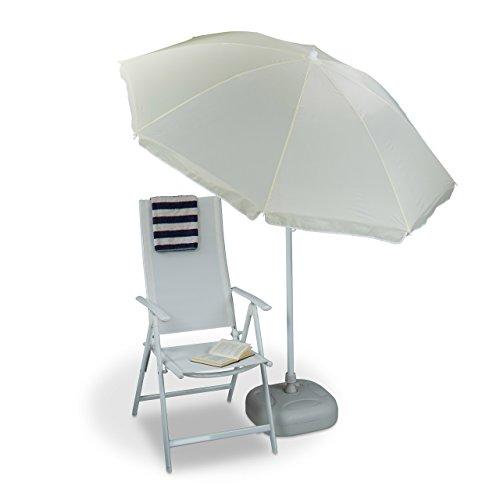 Relaxdays Sonnenschirm 180 cm Spannweite, 8 Rippen Polyester, Neigefunktion, Gartenschirm, Gastroschirm, natur