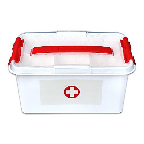 Schramm Medizinbox 30cm x 20cm x 14cm Plastik Erste Hilfe Box Aufbewahrungskasten Medizin Box mit Griff mit herausnehmbarem Ablagefach Arzneimittelbox Medikamentenbox Organizer