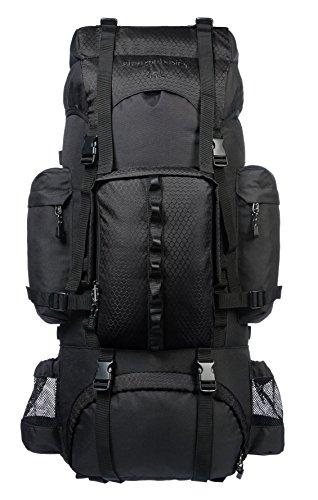 AmazonBasics - Wanderrucksack mit Innengestell und Regenschutz, 65 L, Schwarz