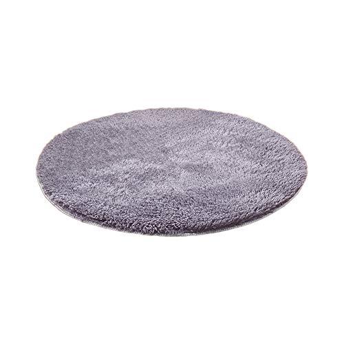 Emorias 1 Stück Bodenmatte rund Shaggy Teppich Schlafzimmer Mats Dekoration Weich Fußmatten Wohnzimmer 60 cm Grau L