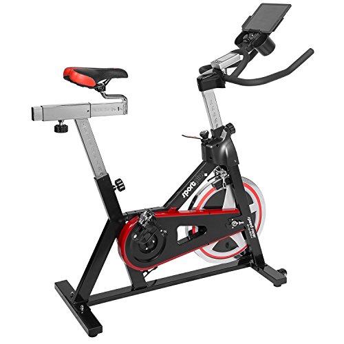 SportPlus Indoor Cycling Bike mit APP-Steuerung, Nutzergewicht bis 130kg, Schwungscheibe ca. 13kg, Triathlonlenker, Rennsattel, Tablethalterung, Heimtrainer Fahrrad, Sicherheit geprüft, SP-SRP-2100-i