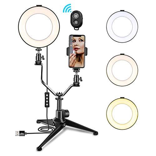 LED Ringlicht - 6 ' Ring Licht mit 3 Lichtmodi und 11 Helligkeitsstufen Selfie Licht Ring mit Stativ, Handyhalter für Boardcasting, Make-up, Handy, Youtube, Vlog
