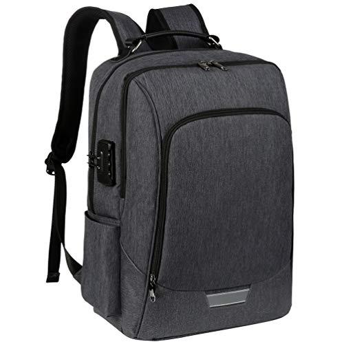 Vbiger 17 Zoll Laptop Rucksack Herren Damen für Schule Reisen mit Anti-Theft, USB Charging Port und Headphone Port (Grau)
