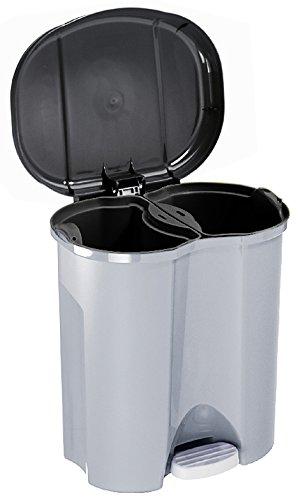 Rotho Abfalleimer Duo, Mülleimer mit zwei Abfallbehältern zum Mülltrennen, 2 x 10 l, Mülltrenner mit Trittfunktion, geruchsdichtes Verschließen, 39 x 32 x 40.5 cm (LxBxH), grau metallic/dunkelsilber