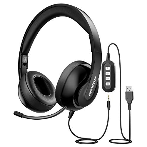 Mpow PC Headset [Faltbar] Computer Headset mit einziehbaren Mikrofon USB Headset / 3.5mm Chat Headset Noise-Cancelling Over-Ear Headset für Alles, PC, Smartphone,Skype, Webinar, Telefon, Call-Center
