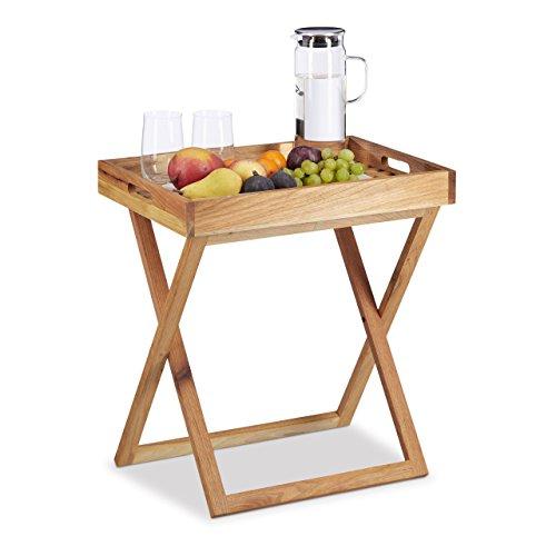 Relaxdays Tabletttisch klappbar, Serviertisch Walnuss-Holz, Klapptisch klein, Serviertablett, HxBxT: ca. 54 x 52 x 36 cm
