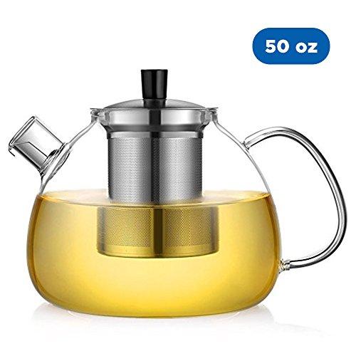 Ecooe Teekanne Glas Teebereiter 1500 ml mit abnehmbare Edelstahl-Sieb Glaskanne Aufheizen auf dem Herd