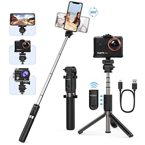 Yoozon Bluetooth Selfie-Stick Stativ mit Fernbedienung, Kamera Tripod,Selfie Stange Monopod kabellos 360°Rotation für GoPro Action-Kamera und die meisten iPhone Android Smartphones
