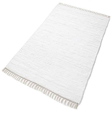 Handwebteppich 'Kim' weiß, Größe:90 cm x 160 cm, in vielen weiteren Farben und Größen erhältlich